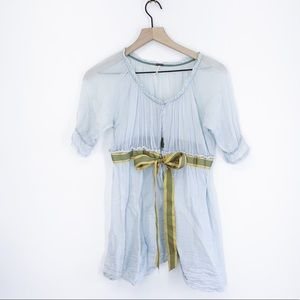 Free People Blue Sheer Babydoll Bow Top